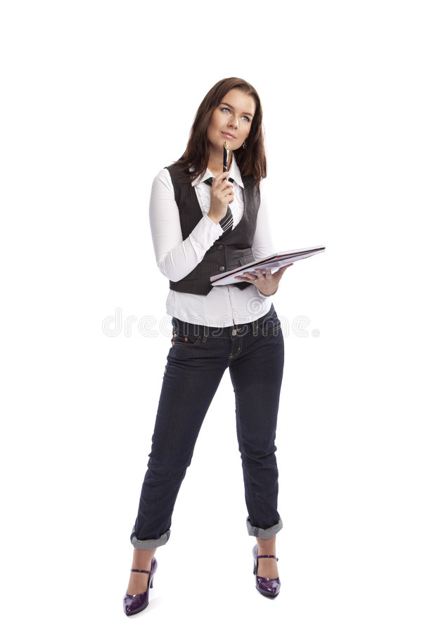 Pensamento da mulher de negócio fotografia de stock royalty free