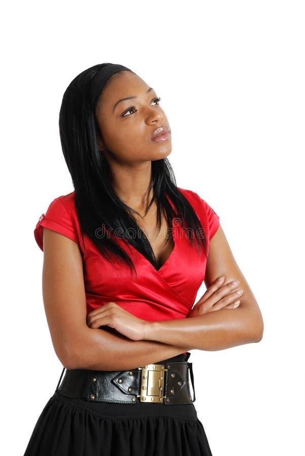 Pensamento da mulher de negócio do americano africano fotos de stock royalty free