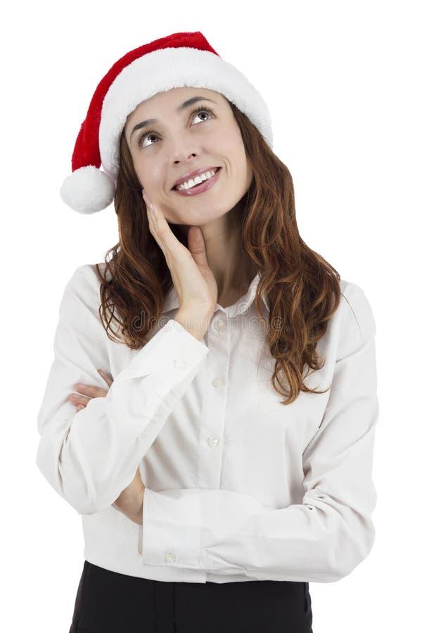 Pensamento da mulher de negócio do Natal imagem de stock royalty free