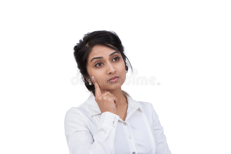 Pensamento da mulher de negócios fotos de stock
