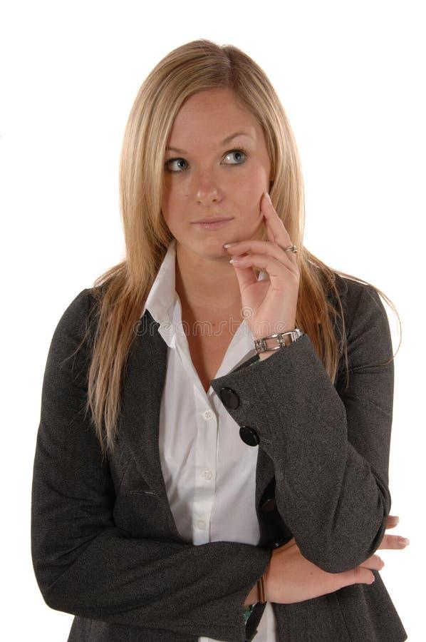 Pensamento das mulheres de negócio foto de stock