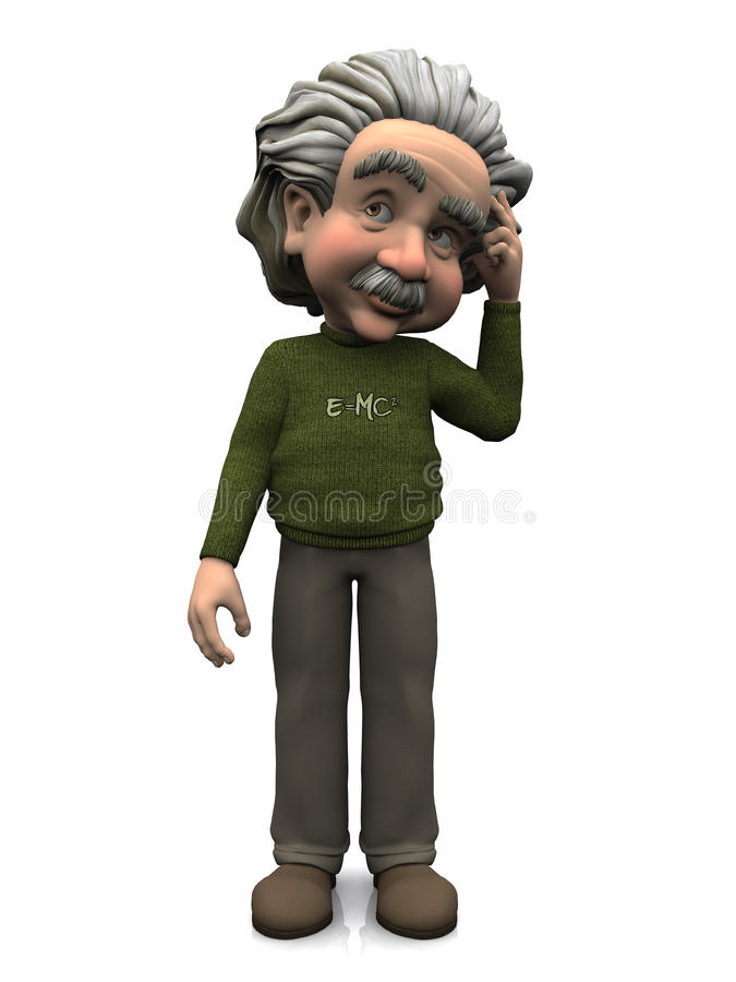 Pensamento de Albert Einstein dos desenhos animados. imagens de stock