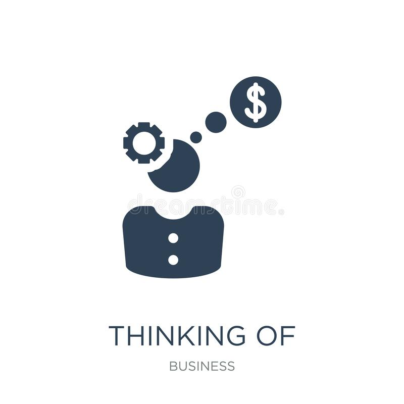 pensamento de fazer o ícone do dinheiro no estilo na moda do projeto pensamento de fazer o ícone do dinheiro isolado no fundo bra ilustração stock