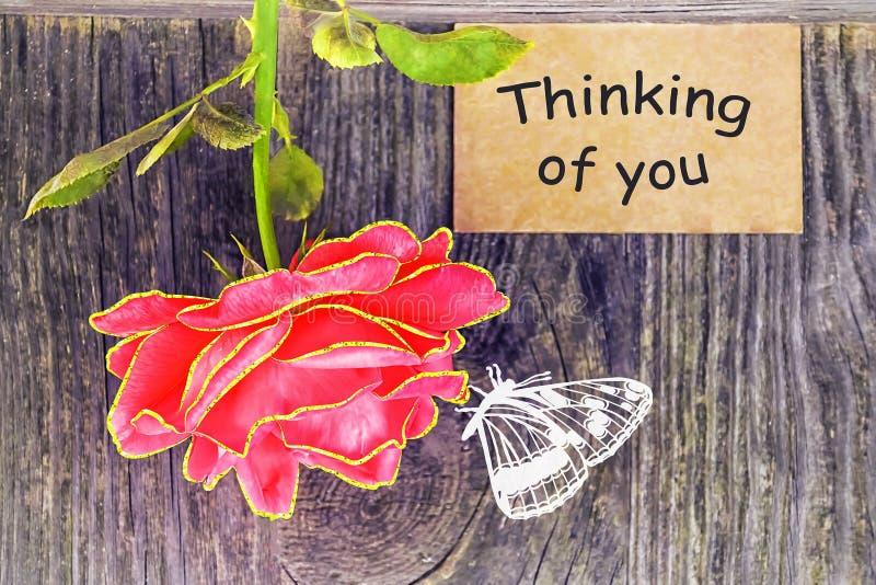 Pensamento de você - cartão fotografia de stock royalty free