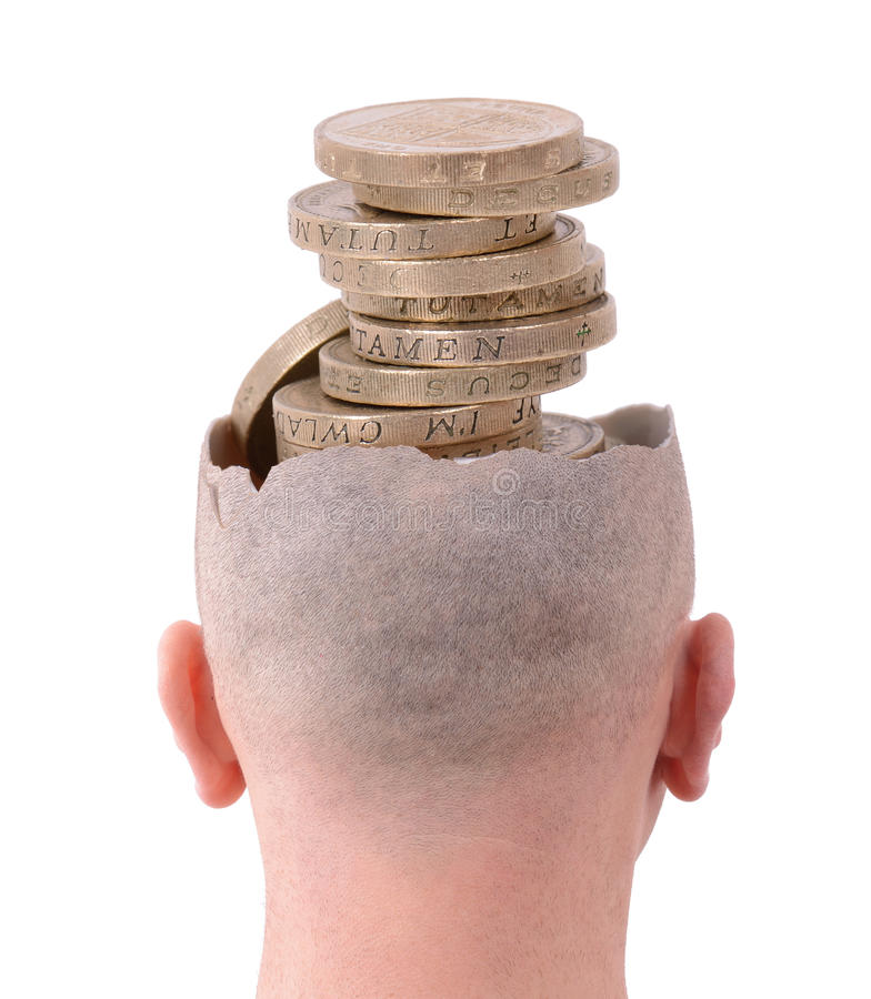 Pensamento do dinheiro imagem de stock