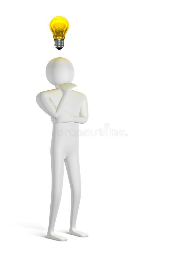 pensamento do homem 3d e ampola amarela acima ilustração stock