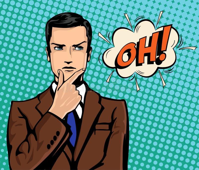 Pensamento do homem de negócios e bolha cômica do discurso ilustração stock