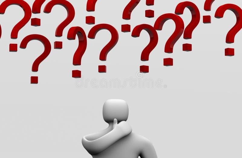 Pensamento do homem de negócios e ponto de interrogação 3d ilustração royalty free
