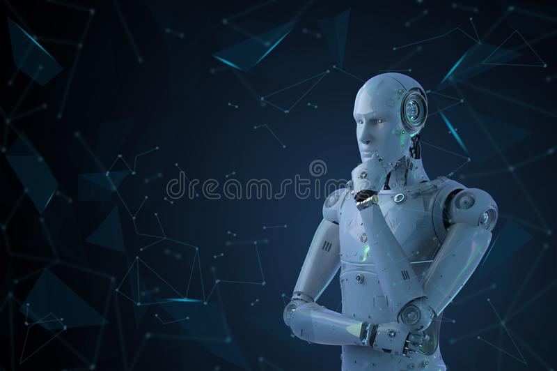Pensamento do robô do Ai fotografia de stock