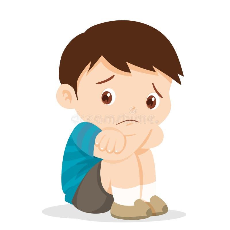 Pensamento e sorriso do menino das crianças ilustração do vetor