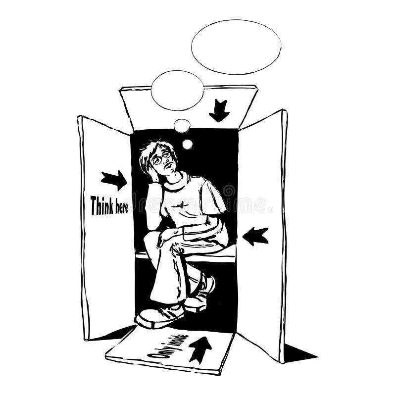 Pensamento fora da caixa ilustração royalty free