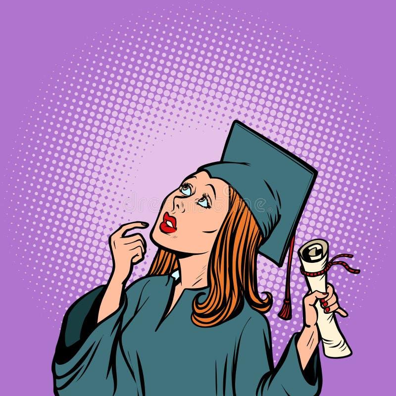 Pensamento graduado da menina, o estudante da faculdade e universidade ilustração do vetor