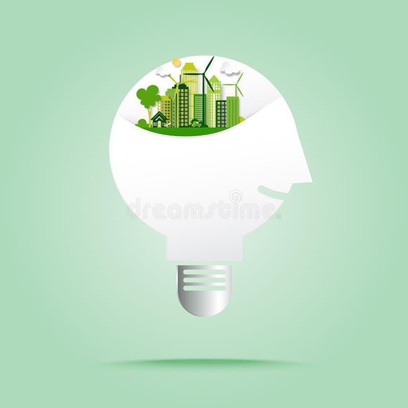 Pensamento humano na cidade verde do eco no estilo da arte do papel da ampola ilustração do vetor