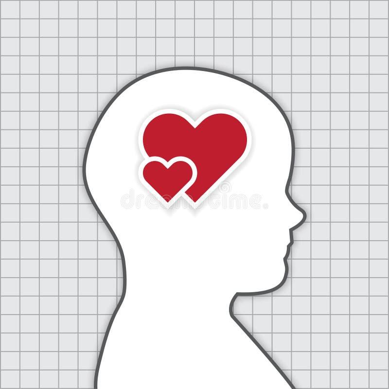 Pensamento humano sobre o conceito do amor, trabalho do vetor ilustração do vetor