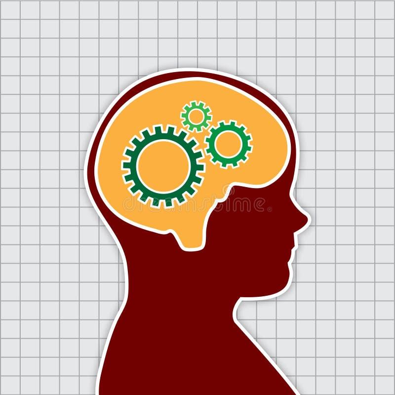 Pensamento humano, trabalho do vetor ilustração stock