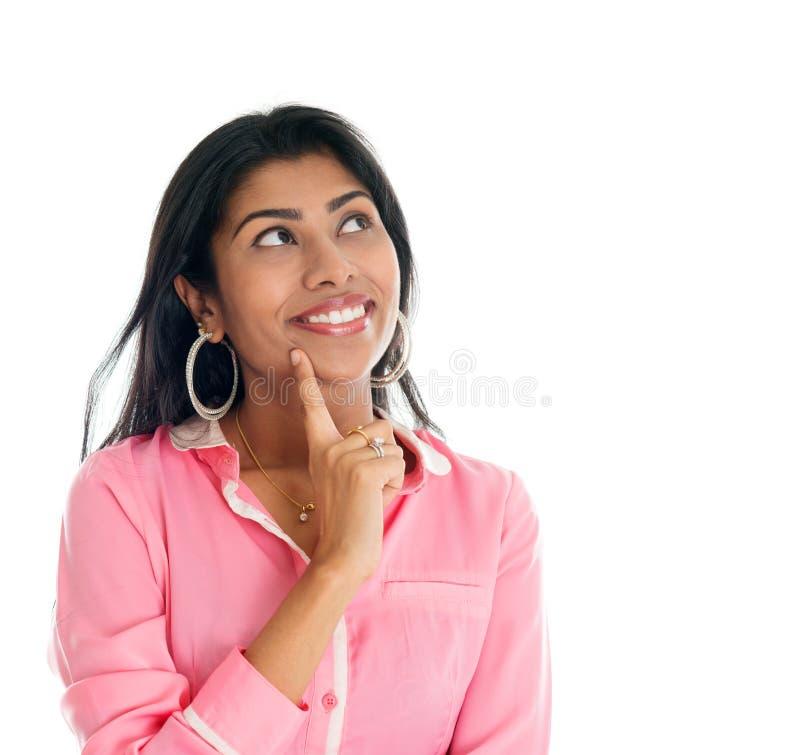 Pensamento indiano da mulher. foto de stock royalty free