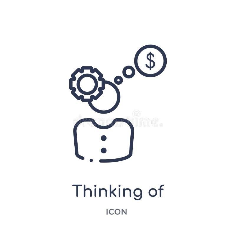 Pensamento linear de fazer o ícone do dinheiro da coleção do esboço do negócio Linha fina que pensa de fazer o ícone do dinheiro  ilustração royalty free