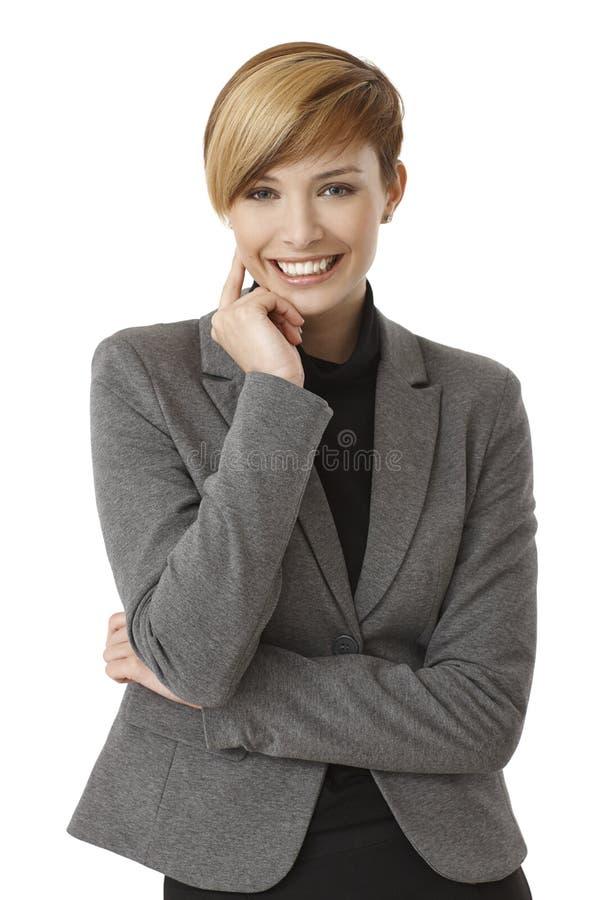 Pensamento novo da mulher de negócios foto de stock royalty free