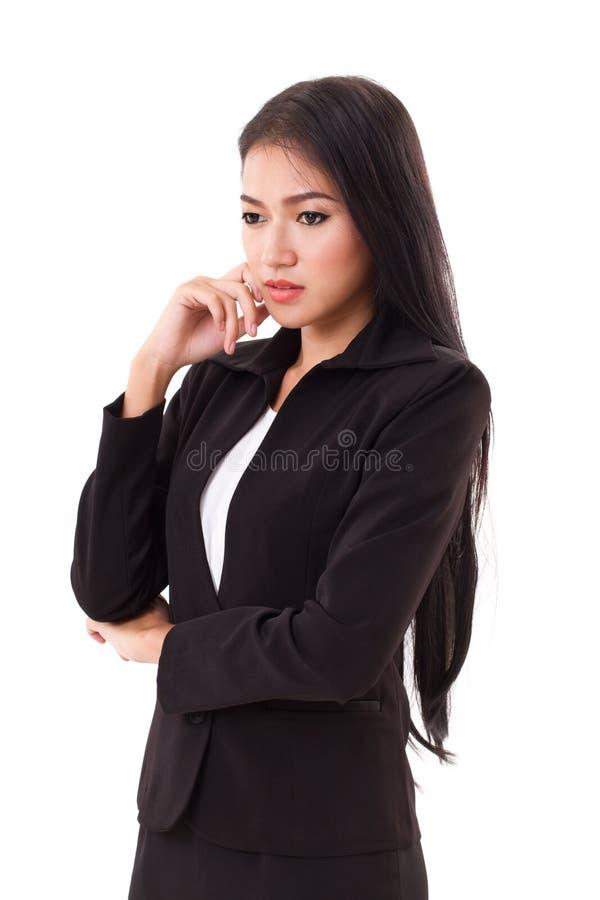 Pensamento seguro do executivo empresarial da mulher imagens de stock