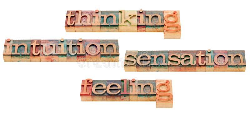 Pensamento, sentimento, intuição e sensação fotos de stock royalty free
