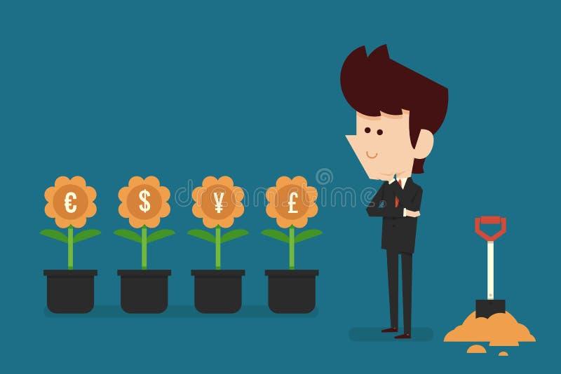 Pensamento sobre o investimento ilustração stock