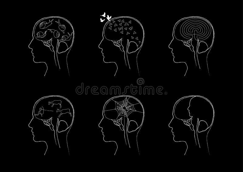 Pensamentos de uma pessoa sob o crânio ilustração stock