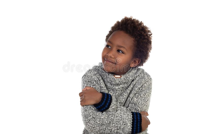 Pensamiento afroamericano adorable del niño fotos de archivo libres de regalías