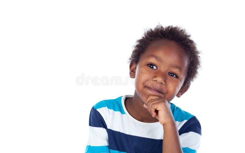 Pensamiento afroamericano adorable del niño imágenes de archivo libres de regalías