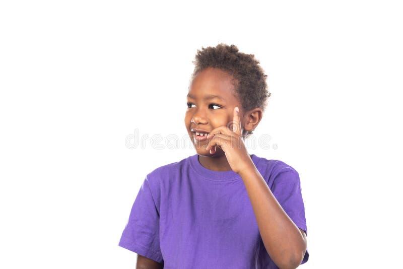 Pensamiento afroamericano adorable del ni?o fotografía de archivo libre de regalías