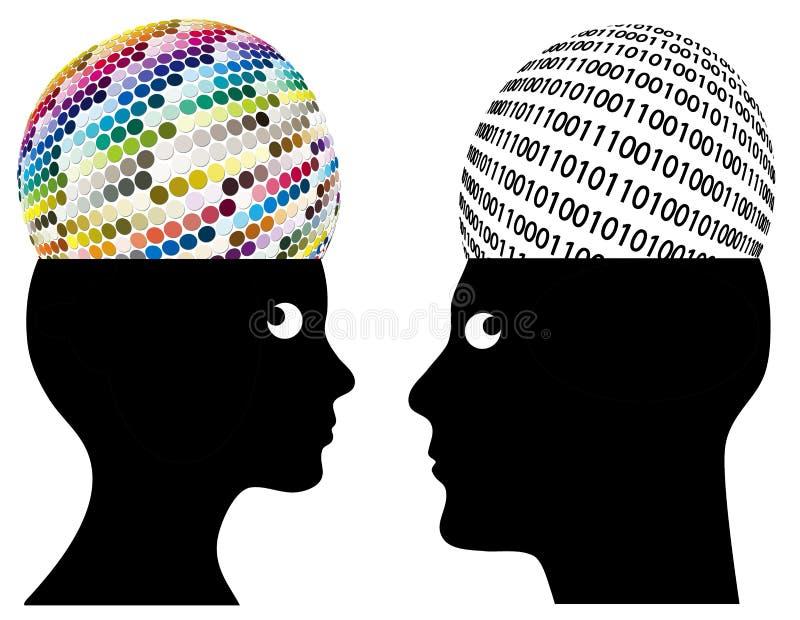 Pensamiento análogo y de Digitaces stock de ilustración