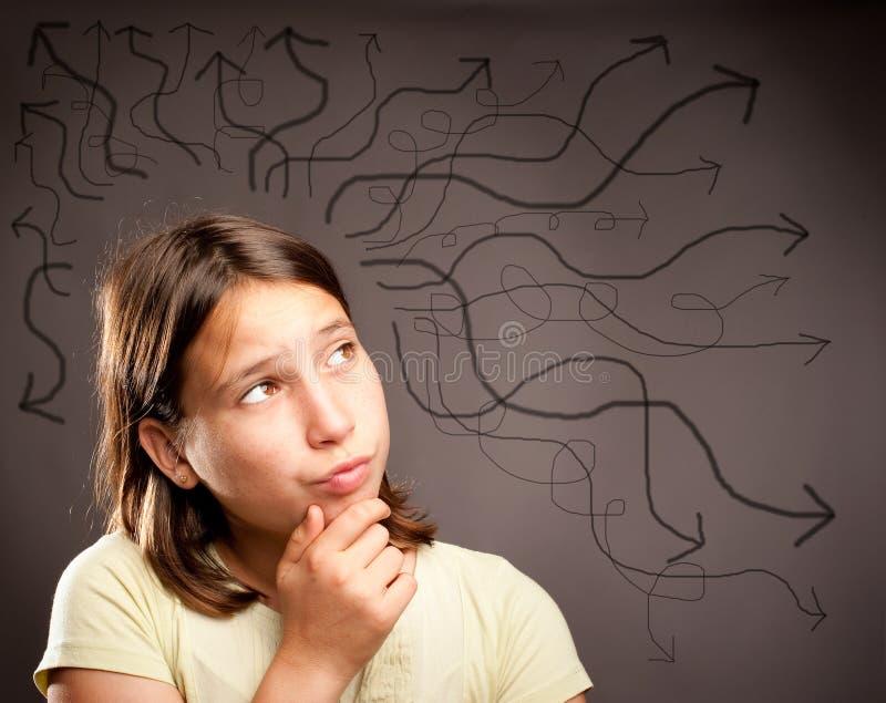 Pensamiento de la chica joven foto de archivo libre de regalías