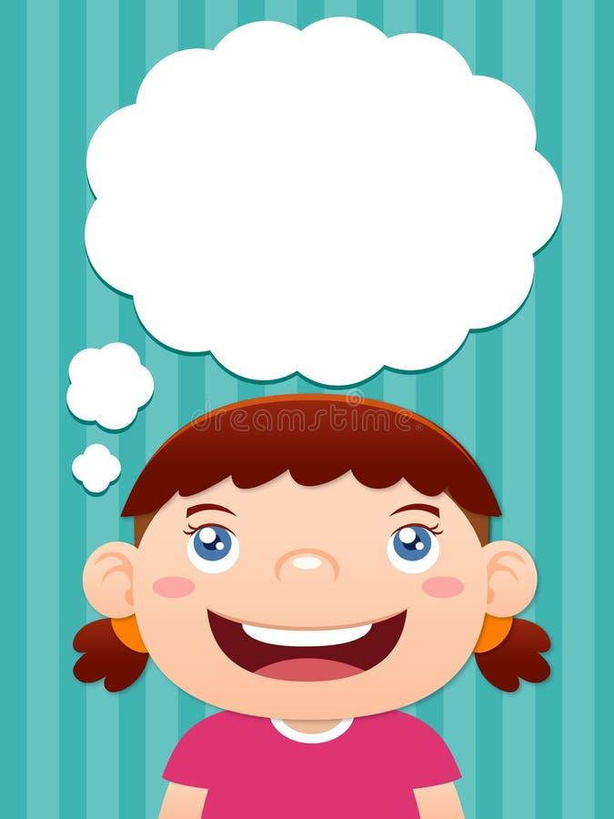 Pensamiento de la muchacha de la historieta stock de ilustración