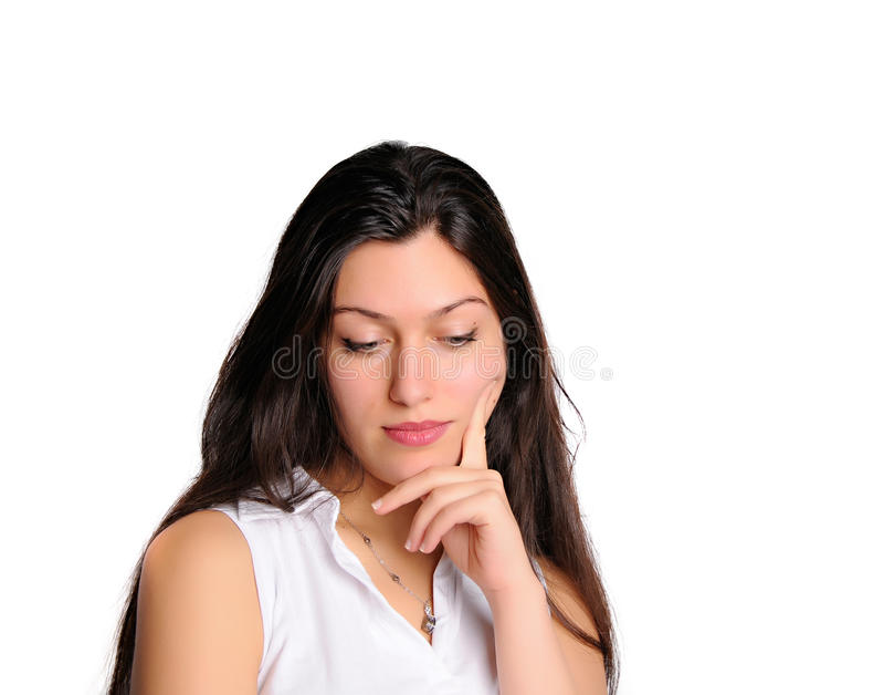 Pensamiento de la mujer aislado en blanco imágenes de archivo libres de regalías