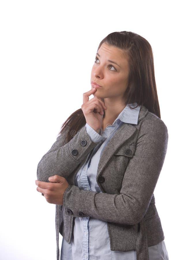 Pensamiento de la mujer de negocios imagenes de archivo