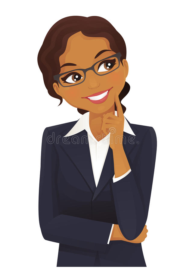 Pensamiento de la mujer de negocios? aislado en blanco ilustración del vector