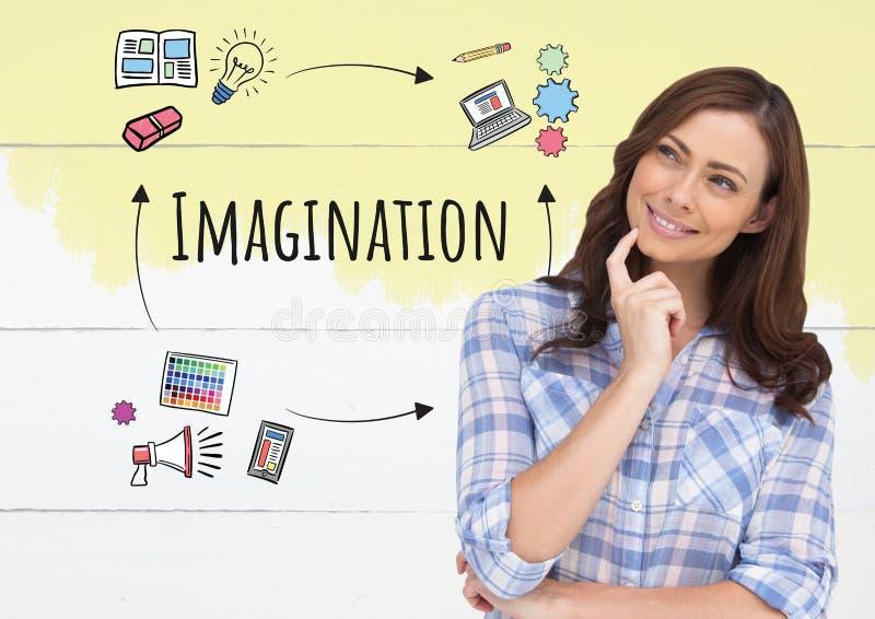 Pensamiento de la mujer y texto de la imaginación con los gráficos de los dibujos ilustración del vector