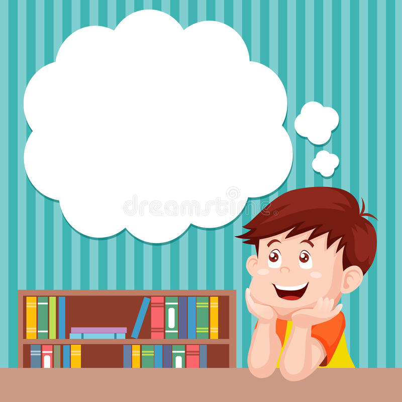 Pensamiento del muchacho de la historieta stock de ilustración