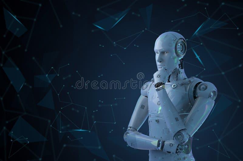Pensamiento del robot del Ai fotografía de archivo