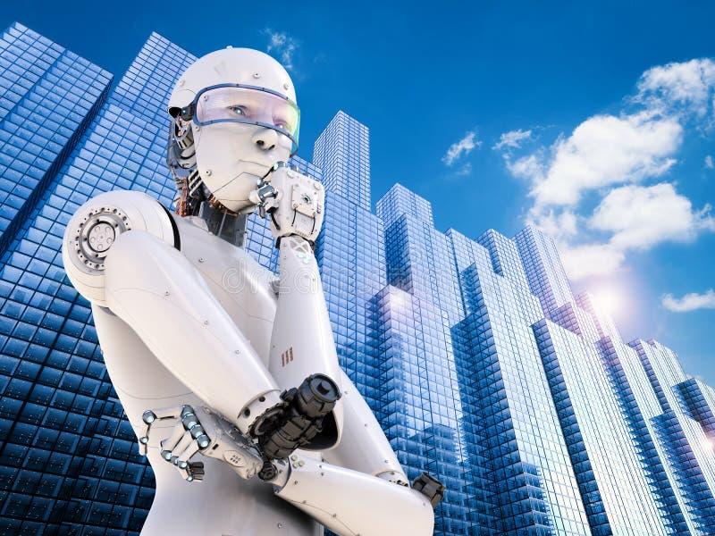 Pensamiento del robot de Android imágenes de archivo libres de regalías