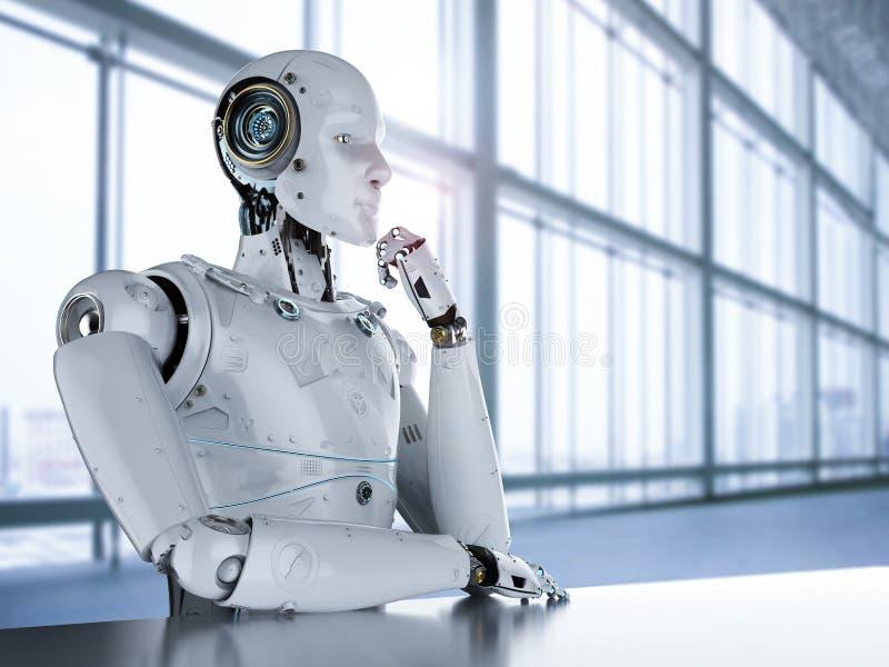 Pensamiento del robot del Humanoid stock de ilustración