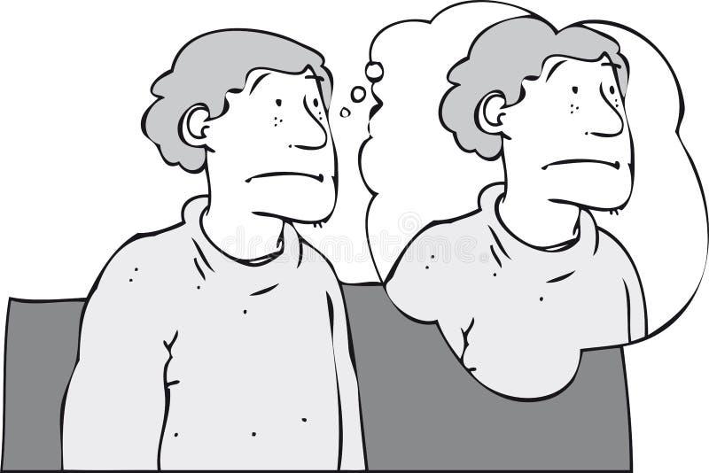 Pensamiento en el uno mismo ilustración del vector