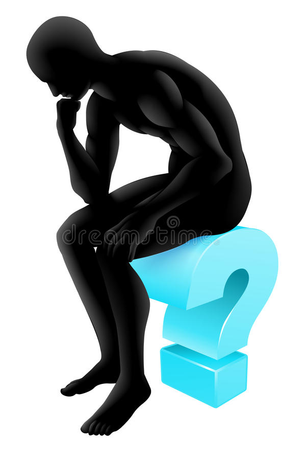 Pensamiento en silueta del signo de interrogación ilustración del vector
