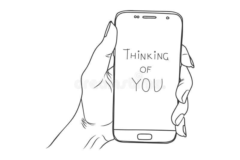 Pensamiento en usted Ejemplo del bosquejo del vector - controles femeninos de la mano libre illustration