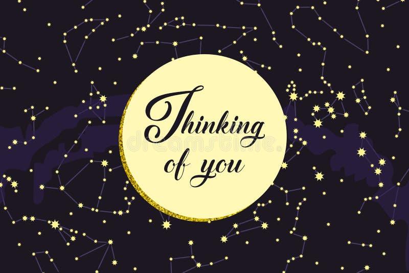 Pensamiento en usted - tarjeta Constelaciones, mapa de estrella Astronom?a de la ciencia, mapa de estrella en un fondo azul, el c libre illustration