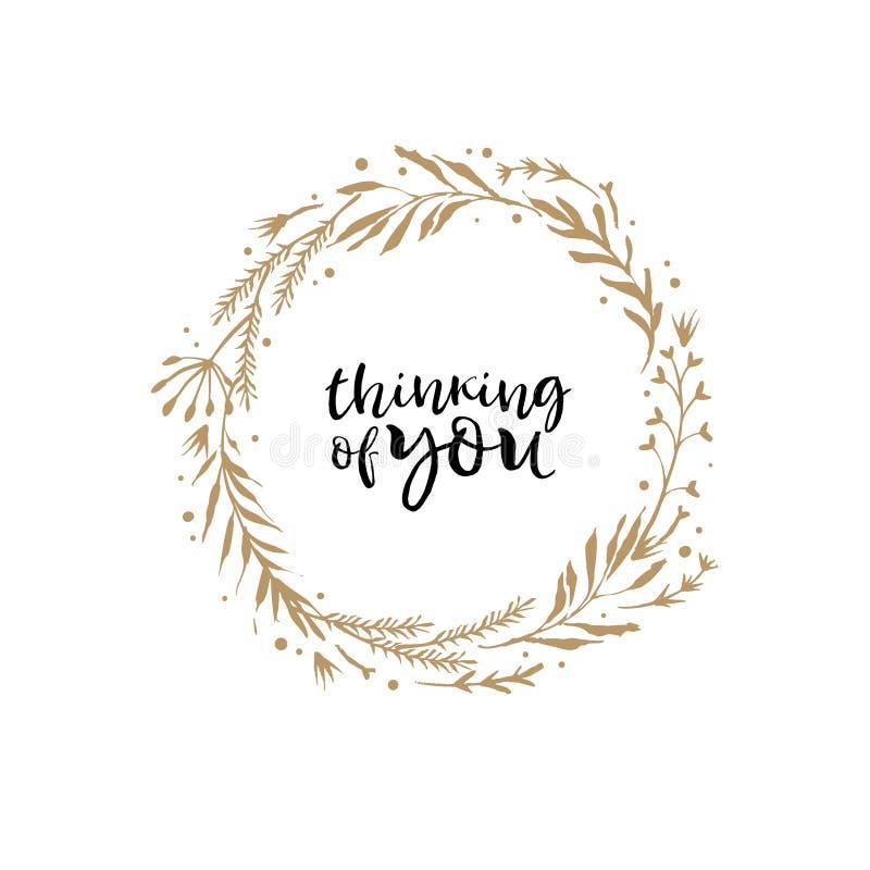 Pensamiento en usted Tarjeta de la guirnalda de la flor del oro con el quot inspirado ilustración del vector