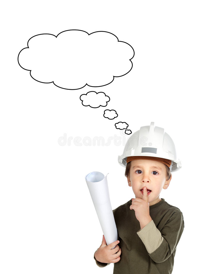 Pensamiento futuro adorable del ingeniero aislado imagen de archivo