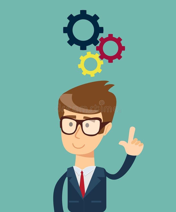 Pensamiento Hombre de negocios que soluciona un problema ilustración del vector