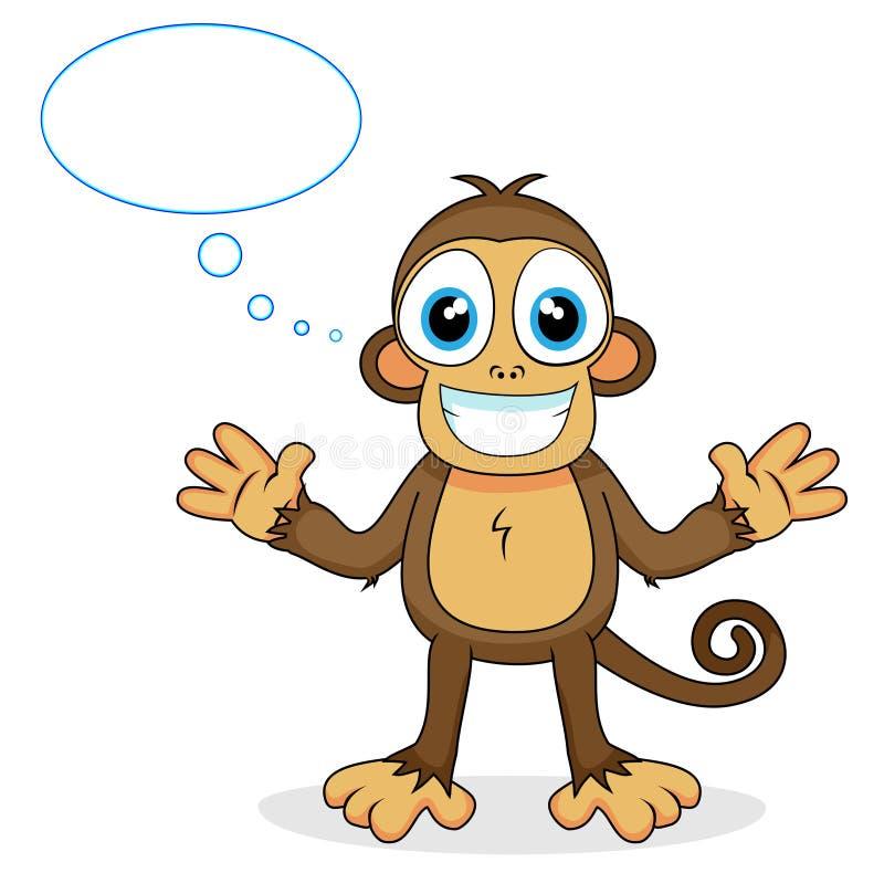 Pensamiento lindo del mono stock de ilustración