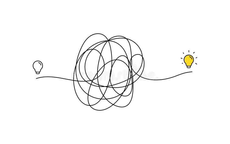 Pensamiento muy duro en la idea de la inspiraci?n a trav?s de un ejemplo complicado de la manera bombilla apagado a encendido con libre illustration