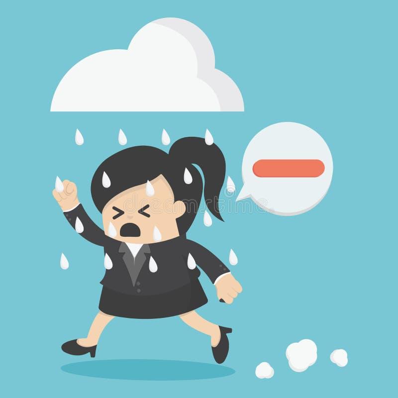 Pensamiento negativo de la gente de la mujer de negocios libre illustration